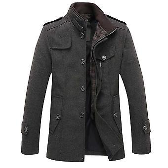 Allthemen Men's Stand Collar Autumn Casual Wool Overcoat