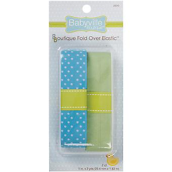 Babyville Boutique Fold Over Elastic Blue with Dots & Solid Green 3.50E 41