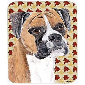 Boxer Fall Leaves Portrait Mouse Pad, Hot Pad or Trivet