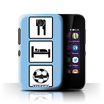 STUFF4 Case/Cover for Nokia Asha 230/Football/Soccer/Blue/Eat/Sleep