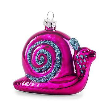 Pair of Purple Metallic Glass Snails Novelty Christmas Decoration Baubles