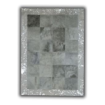 Rugs -Patchwork Cubed Cowhide - Light Grey with Acid Silver Border
