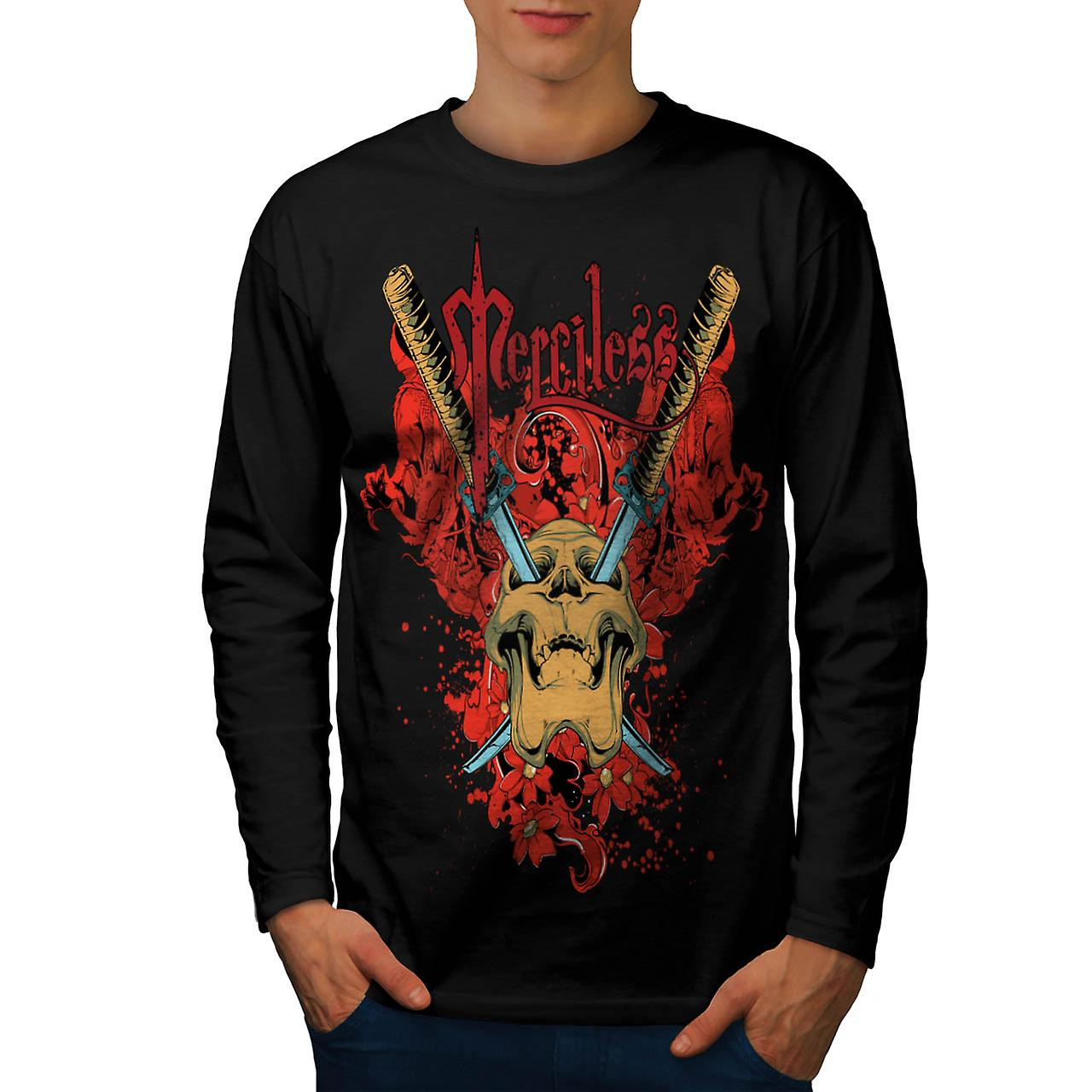 No Mercy Killer Head Dead Skull Men Black Long Sleeve T-shirt | Wellcoda