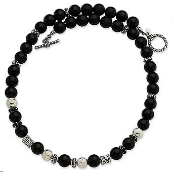 Sterling Silver With 14k 10.5mm Onyx and Enameled Beaded 20inch Necklace