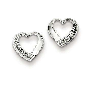 Sterling Silver Rhodium Diamond Heart Post Earrings - .01 dwt