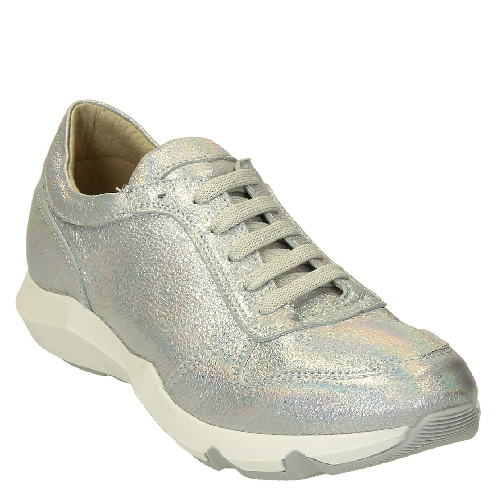 Silver glitter leather sneakers shoes handmade for women