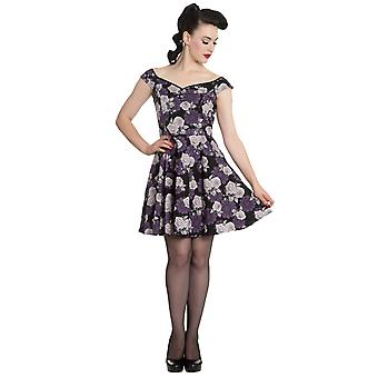Hell Bunny Womens Ilsa Mini Dress Rockabilly Floral Rose Black Lavender Purple