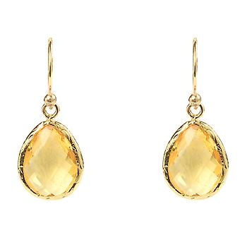 925 Sterling Silver Small Dangle Drop Earrings Gold Yellow Citrine Hook Gemstone