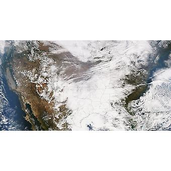 November 25 2013 - True color satellite image of the Continental United States A complex and powerful storm system moves through the South and Midwest Poster Print