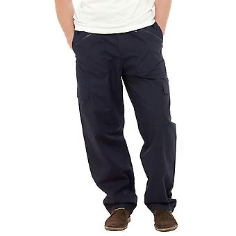 Mens Tom Franks Long Plain Polycotton Outdoor Cargo Action Trousers