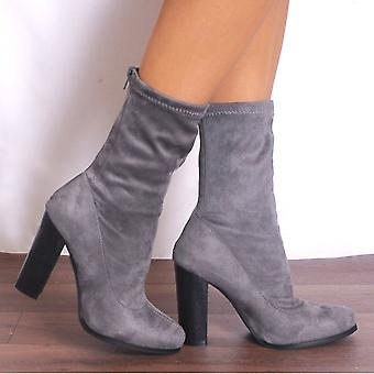 Shoe Closet Sock Boots - Ladies Grey D4-1 Faux Suede Sock Pull On Stretch Ankle Boots