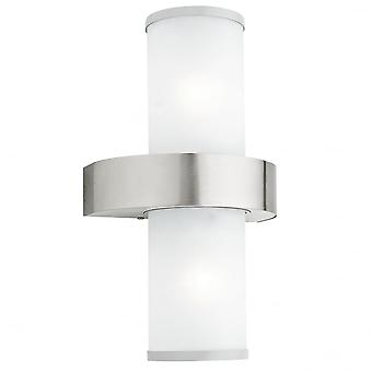 Eglo BEVERLY 2 Light Modern Outdoor Wall Light Opal, Stainless S