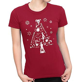 Suicide Squad Harley Quinn Christmas Tree Silhouette Damen T-Shirt weiß