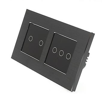 J'ai LumoS noir Aluminium brossé Double armature 5 Gang 1 façon Remote Touch LED Light Switch Insert noir