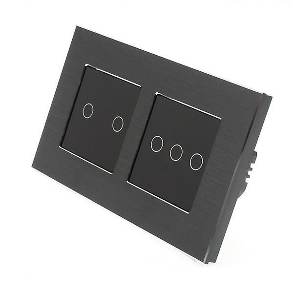 I LumoS noir Brushed Aluminium Double Frame 5 Gang 1 Way Touch LED lumière Switch noir Insert