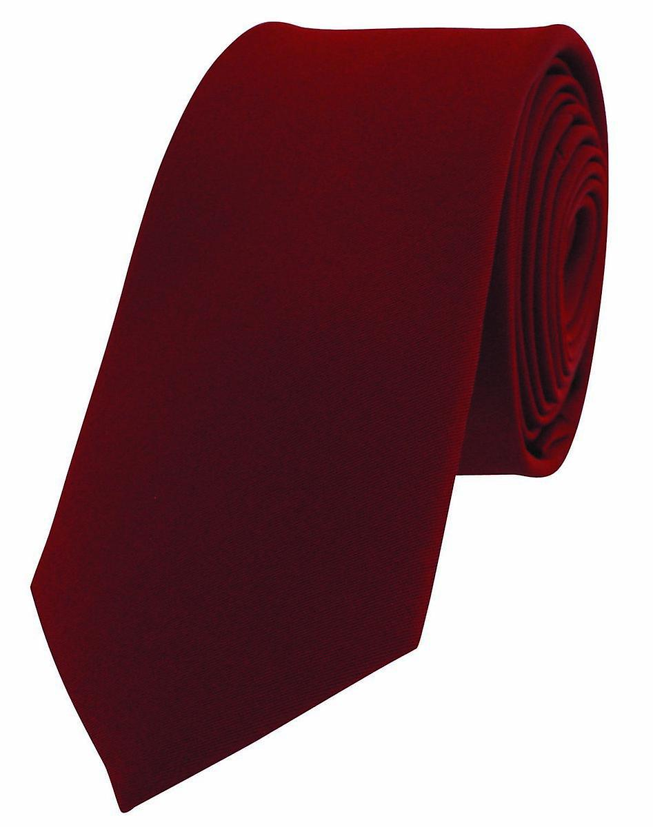 David Van Hagen Luxury Thin Satin Silk Tie - Red