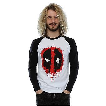 Marvel Men's Deadpool Splat Face Long Sleeved Baseball Shirt