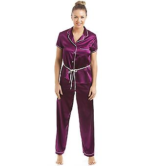 Camille Dark Purple Short Sleeve Belted Satin Pyjama Set
