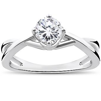 1/2 Ct Round Solitaire Diamond Vintage Engagement Ring 14K White Gold