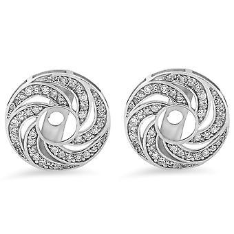 1/2ct Diamond Earring Halo Jackets 14k White Gold