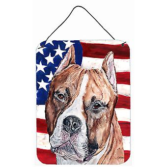 Staffordshire Bull Terrier Staffie with American Flag USA Wall or Door Hanging P