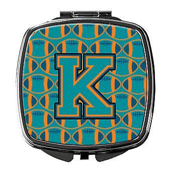 Letter K Football Aqua, Orange and Marine Blue Compact Mirror