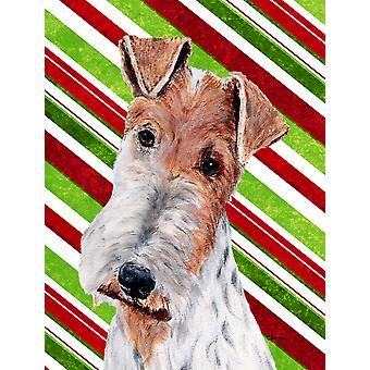 Wire Fox Terrier Candy Cane Christmas Flag Canvas House Size