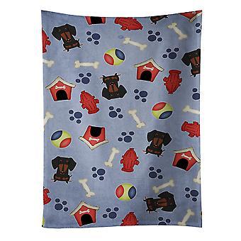 Perro casa colección Dachshund negro Tan cocina toalla