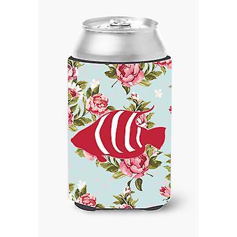 Fish Shabby Chic Blue Roses Can or Bottle Beverage Insulator Hugger BB1020