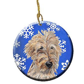 Carolines Treasures  SC9605CO1 Golden Doodle Winter Snowflakes Ceramic Ornament