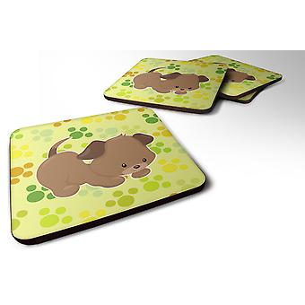 Set of 4 Puppy on Green Pawprints Foam Coasters Set of 4