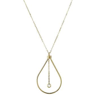 9ct 375 Gold Womens Ladies Fine Necklace with Big Drop Pendant Decorated in Swarovski White Cubic Zirconia Stone
