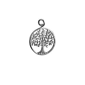 Silver 24mm round 1.7mm thick Tree of Life Pendant or Charm