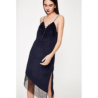 N12H Pinstripe Slip Dress With Lace Detail