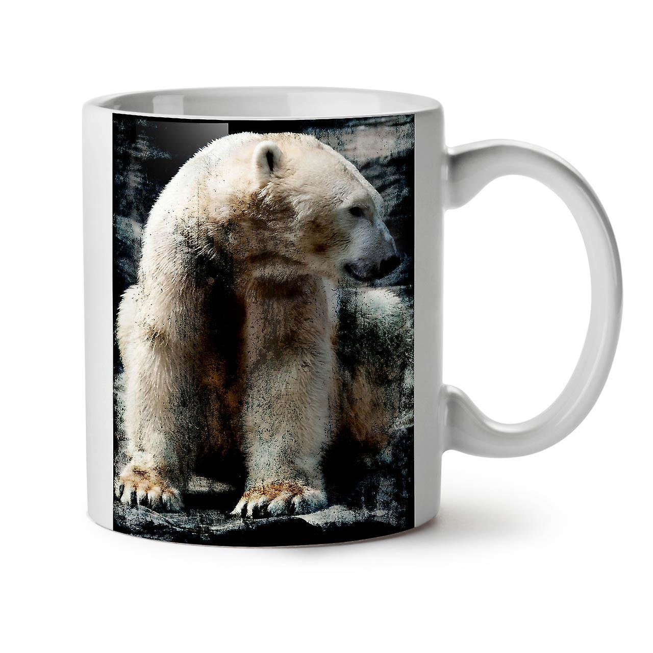 OzWellcoda Café 11 Céramique Polaire Nouveau Blanc Tasse Thé L'ours Animal Sauvage wZlOiPukXT