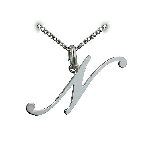 Silver 30x11mm plain Palace script Initial N Pendant with a Curb chain