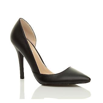 Ajvani dame høj hæl kile spidse spidse tå d'orsay åbne side skåret ud part arbejde domstol sko