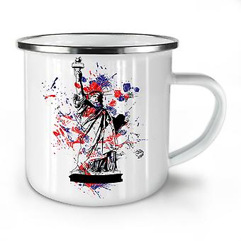 Statue Freedom New York NEW WhiteTea Coffee Enamel Mug10 oz | Wellcoda