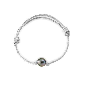 Adjustable bracelet man woman Pearl of Tahiti 10 mm and cotton wax white