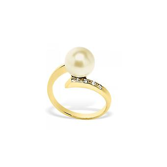 Ring Pearl of Culture of water soft gold, diamonds and yellow gold 375/1000
