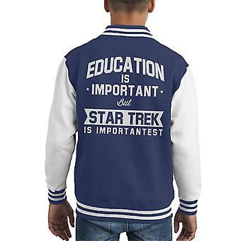 Education Is Important But Star Trek Is Importantest Kid's Varsity Jacket