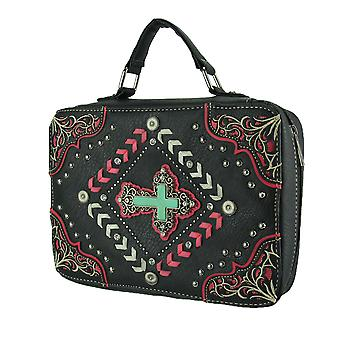 Stitched and Studded Faux Turquoise Cross Studded Bible Cover