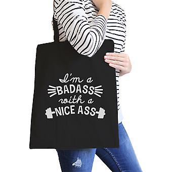 Bad Nice Ass Black Canvas Shoulder Bag Funny Graphic Gym Tote Gift