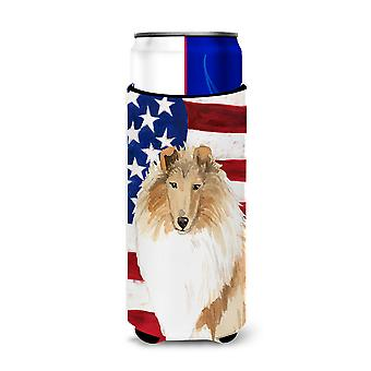 Patriotic USA Rough Collie Michelob Ultra Hugger for slim cans