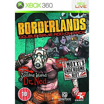 Borderlands Double Game Add-On Pack The Zombie Island of Dr Ned  Mad Moxxis Underdome Riot (Xbox - Factory Sealed
