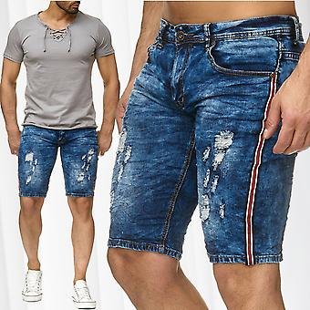 Men's Bermuda Jeans Shorts Leeyo Stretch Sweat Denim Capri Pants Summer