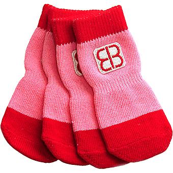 Petego Traction Control Indoor Socks For Dogs 4/Pkg-Small Red/Pink