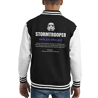 Original Stormtrooper Dictionary Definition Kid's Varsity Jacket