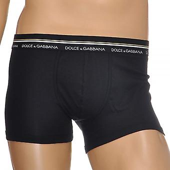 Dolce & Gabbana Mako Stretch Cotton Regular Boxer, Black, Large