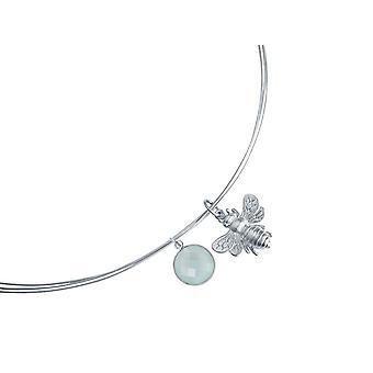 Gemshine - Calcedonia BEE - bee - damas - collar - colgante - plata 925 - - verde - 45 cm